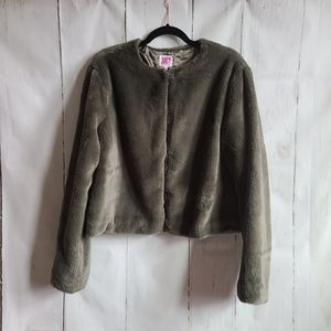 Juicy couture green fuzzy jacket faux fur large
